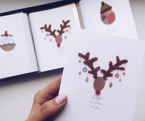 card, christmas, and deer image