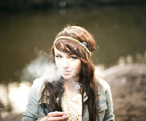 girl, smoke, and cigarette image