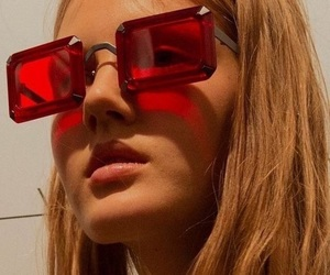 red, fashion, and sunglasses image