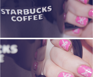 nails, pink, and starbucks image