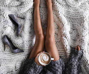 coffee, shoes, and winter image