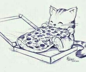 pizza, cat, and drawing image