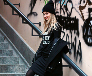 beanie, graffiti, and black image