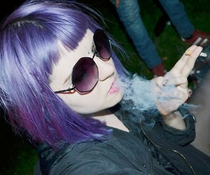 hair, grunge, and purple image