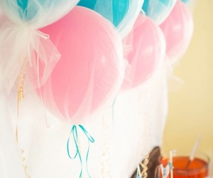 balloons, birthday, and blue image