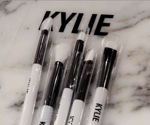 makeup brush, marble, and white and black image