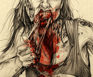 zombie, blood, and art image