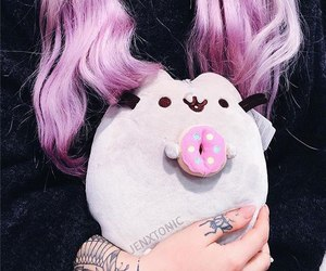 cat, pink hair, and toy image