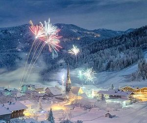 snow, winter, and fireworks image