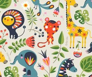 art, elephant, and giraffe image