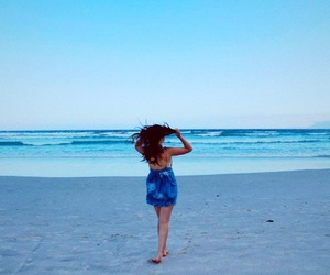 beach, blue sky, and blue water image