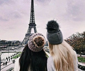 bff, paris, and eiffel tower image