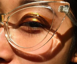 makeup, glasses, and style image