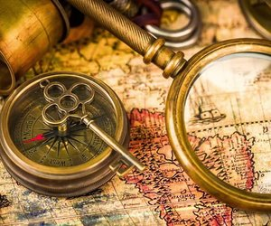 compass, map, and telescope image