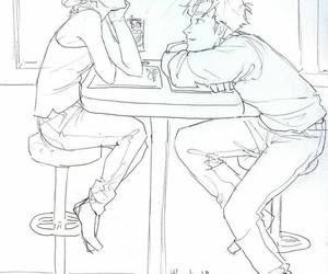 couple, drawing, and percabeth image