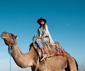 fashion, girl, and camel image