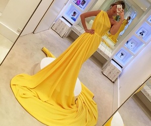 dress, yellow, and luxury image