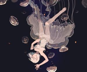girl, anime, and jellyfish image