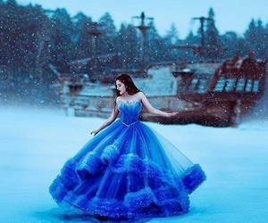 dress, blue, and snow image