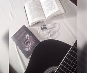 book, books, and guitar image