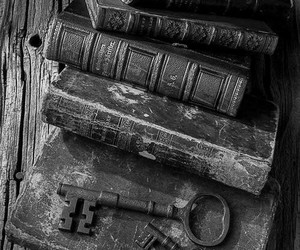 book, key, and vintage image