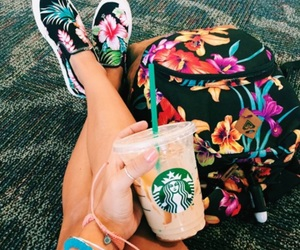 floral, girl, and starbucks image