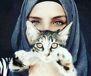 cat, hijab, and eyes image
