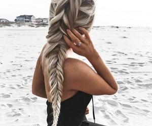 beach, braid, and day image