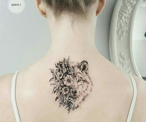 back, flower, and girl image