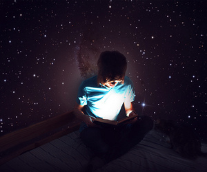 boy, book, and stars image