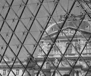 black and white, paris, and musée du louvre image