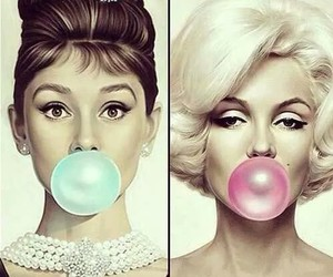 audrey hepburn, Marilyn Monroe, and blue image