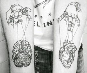 tattoo, heart, and brain image