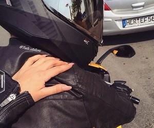 couple, bike, and black image