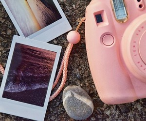 pink, polaroid, and sand image