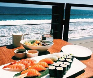 sushi, food, and summer image