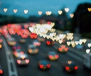 hearts, light, and car image