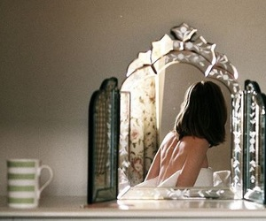 girl, mirror, and vintage image