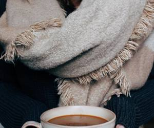 fall, scarf, and coffee image
