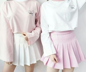 pink, white, and outfit image