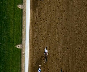 racetrack, horseracing, and aerial image