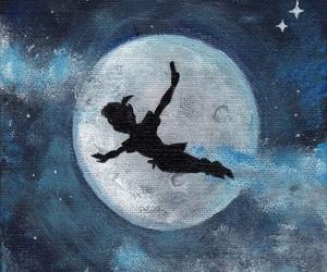 disney, moon, and peter pan image