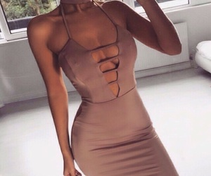 beige, dress, and tan image