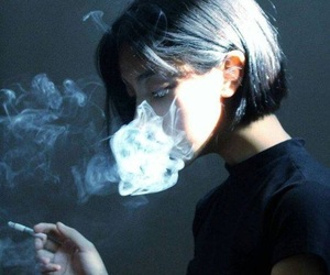 smoke, black, and smoking image