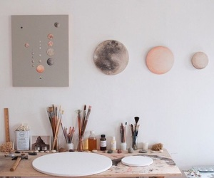 art, paint, and moon image