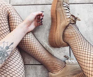 creepers, inked, and fishnet image
