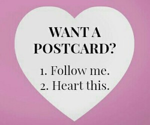 postcard, heart, and follow image