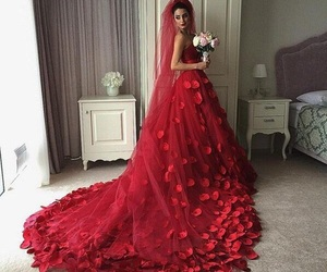 red, dress, and wedding image