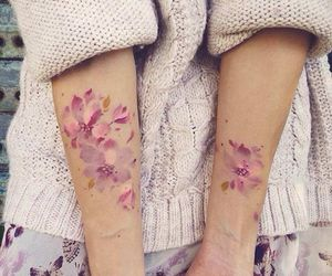 tattoo, flowers, and pink image