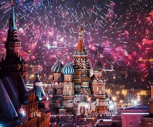 fireworks, moscow, and new year image